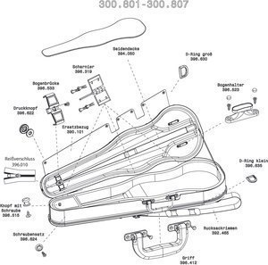 Replacement Violin Case Cover, Shaped, Concerto, Black 4/4